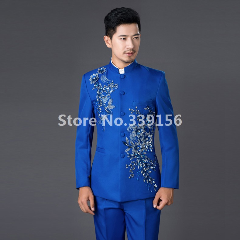 Chinese Tunic Stand Collar Black Blue Red Wedding Suits Men