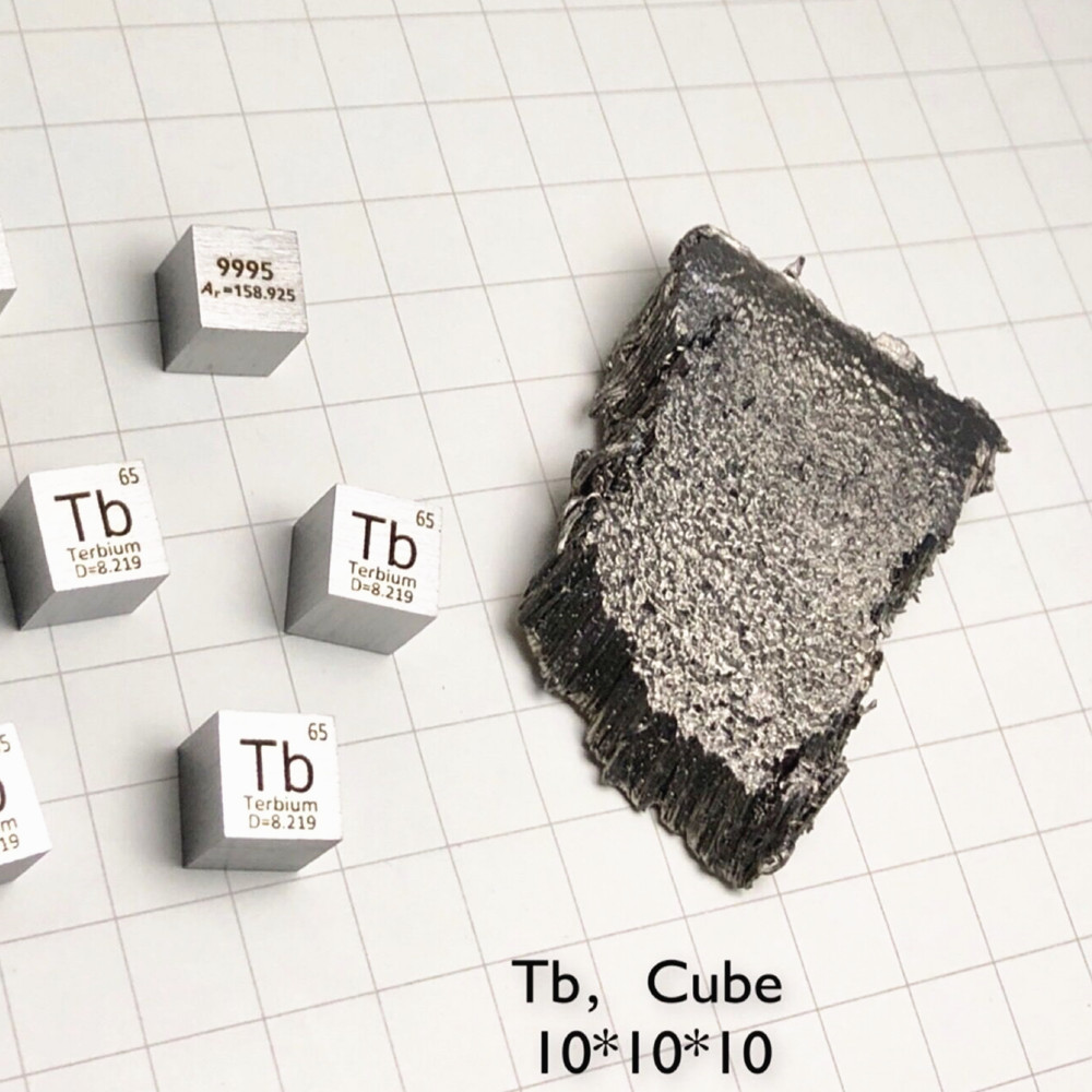 Rare Earth Metal Terbium Cube for Element Collection Science Experiment High Puirty 10x10x10mm Tb for Lab Research Teaching Aid