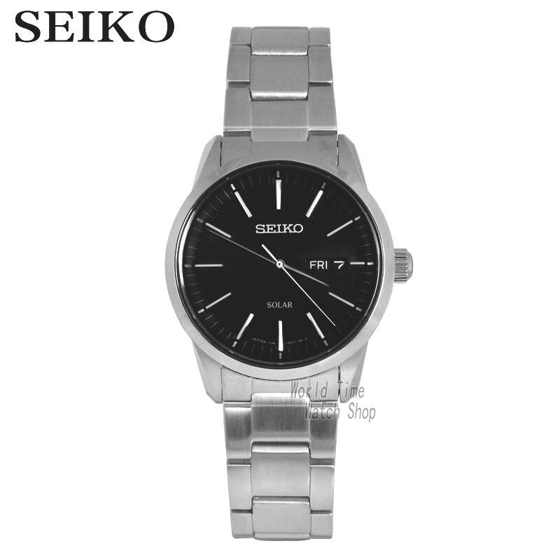 SEIKO montre solaire affaires loisirs Quartz montre étanche hommes S acier bracelet montre SSC061J1 SNE297J1 SNE299J1 SNE081J1 SNE131J1
