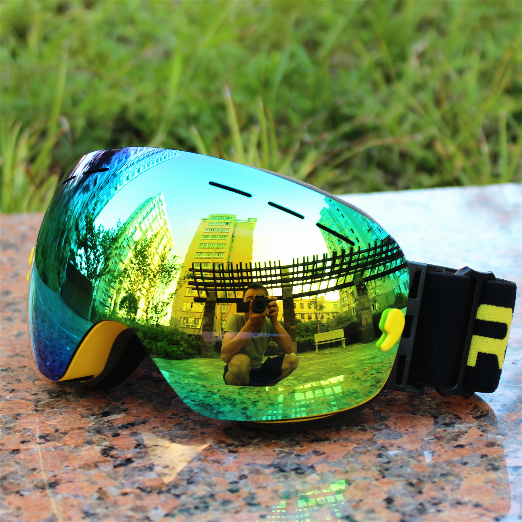 Brand RBWORLD Big Ski Goggles Double Lens UV400 Anti-fog Adult Snowboard Skiing Glasses Women Men Polarized Snow Eyewear