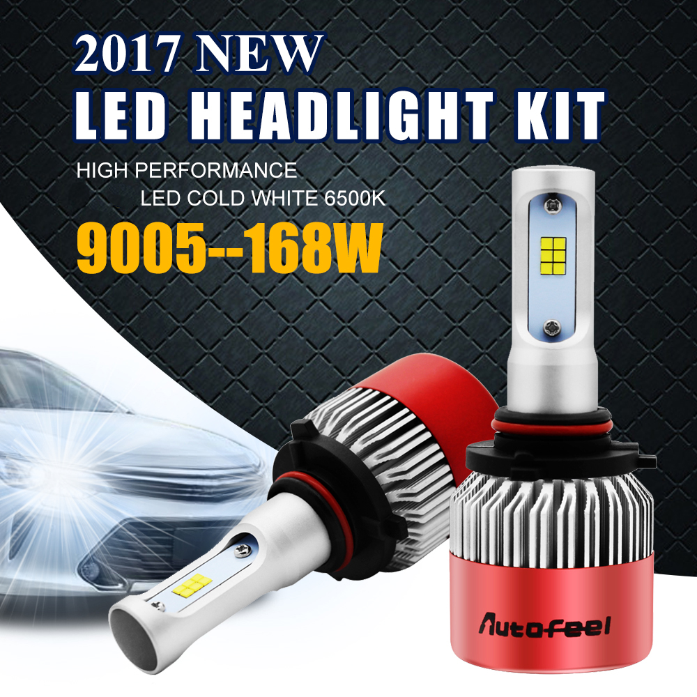 ФОТО Autofeel 9005 HB3 Automoblie LED Headlight Bulbs 6500K Pure White 8000LM 168W Car Accessories Led Headlamp Bulb Hi-Lo Beam Kit