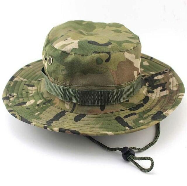 Summer Men Women Camouflage Bucket hat with string Fisherman Cap Military  panama safari boonie d8f7ffa78a7