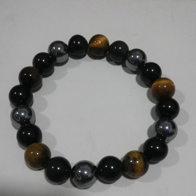 Men Bracelets Natural Stone Bracelets 10mm Beads Black Obsidian Tiger Eye and Hematite Stone Bracelet
