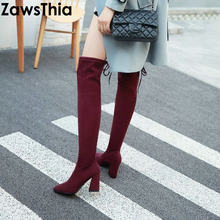 bf5ef0139e4 ZawsThia 2019 luxe merk designer mode stretch stof vrouw schoenen wees teen  blok hoge hakken dij