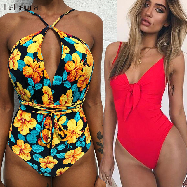 e64d41819ebf81 2019 Sexy One Piece Swimsuit Women Swimwear Push Up Monokini Tie Up Swim  Suit Bodysuit Bathing