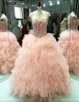 Pink Quinceanera Dresses Ball Gown 2018 Beaded Sparkling Prom Dress For Girls Vestidos De 15 Anos Debutante Gowns Sweet 16