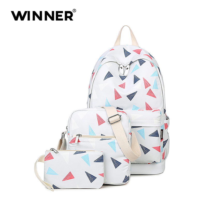 WINNER New Preppy Style 3 pcs set Women Printing Backpacks High Quality School Bags Rucksack Fashion