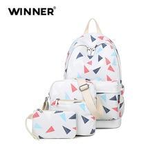 ПОБЕДИТЕЛЬ новый элегантный дизайн комплект из 3 предметов женщины печати Рюкзаки Высокое качество школьные сумки рюкзак моды дорожные сумки
