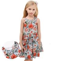 2018 Summer Floral Baby Girls Dress Vest Sleeveless Vest Draped for Children Princess Vestido European Style 3y 4y