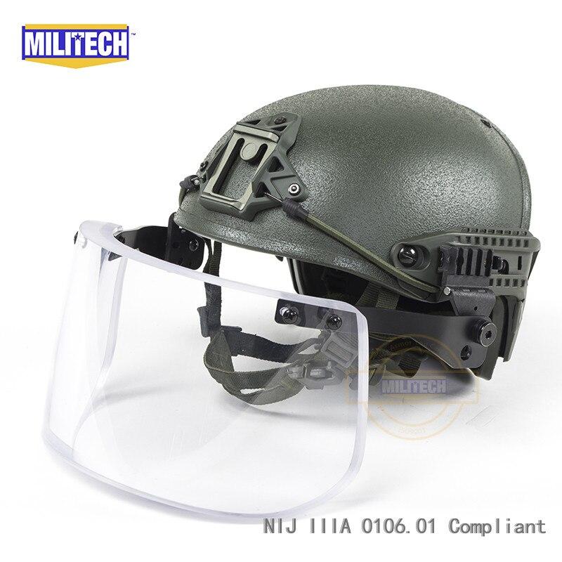 Oliver Drab OD NIJ niveau IIIA 3A cadre pneumatique ventilé CP aramide casque à l'épreuve des balles avec jeu de visière balistique tactique