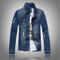 2017 spring and autumn classic men's denim jacket, comfortable and casual washed solid color denim jacket plus size XXXL