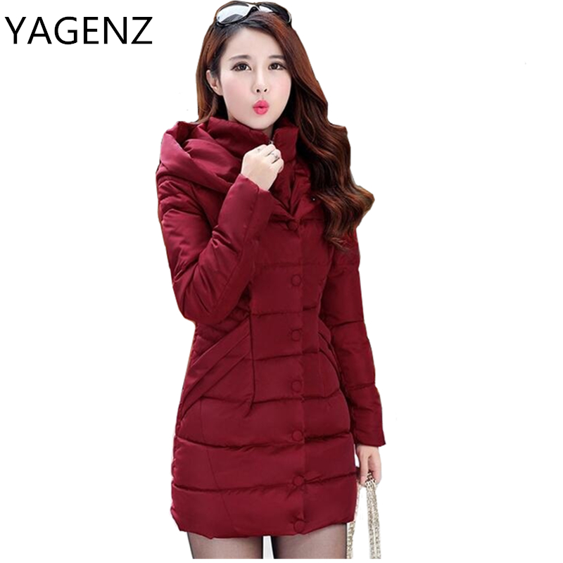 YAGENZ Fashion 2017Women Parkas Winter Hooded Jacket Medium Long Warm Slim Down Cotton Coat Plus size Thick Casual Female Jacket winter women down jacket hooded thick warm cotton coat large size new style casual jacket slim long sleeve medium long coat 2580