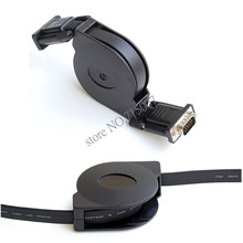 Free shipping 1M HD15Pin VGA D-Sub male to male Retractable Cable for projectors Monitors