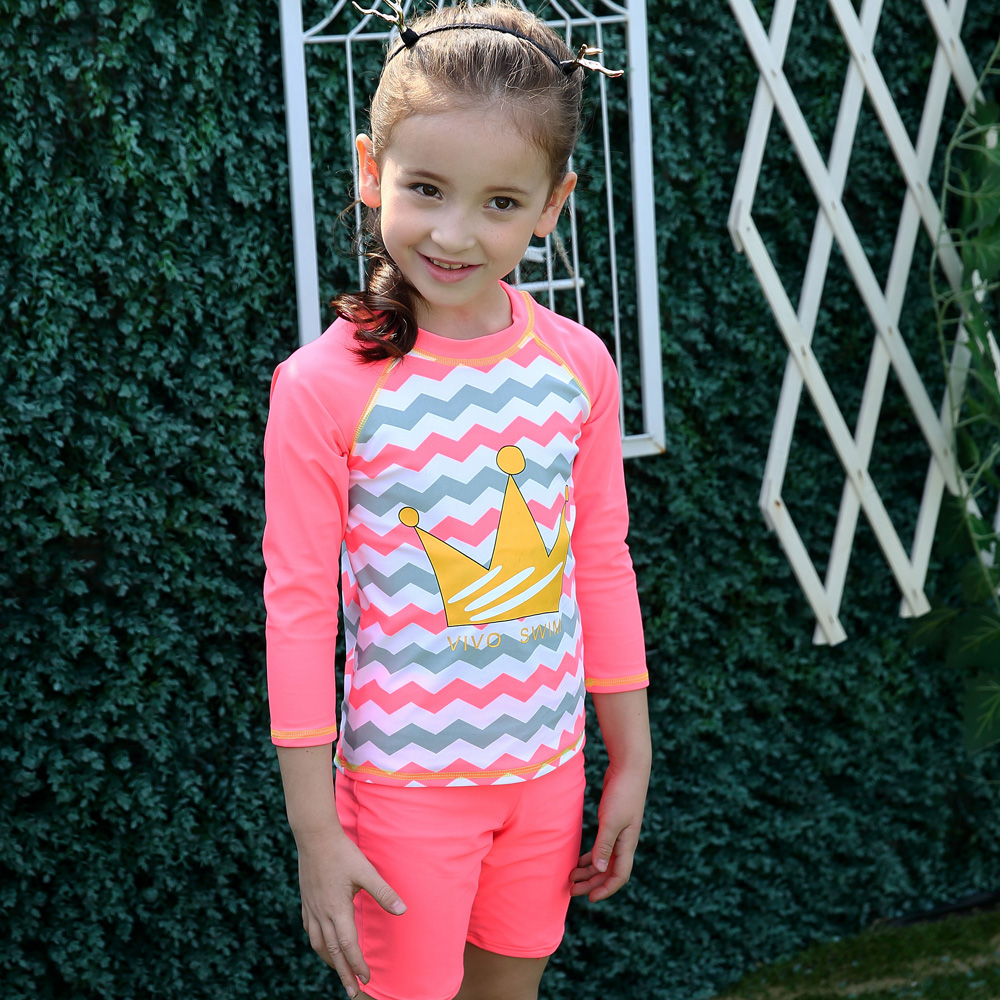 Set of 3 Long Sleeve Wave Print Swimwear Swimsuit Rash Guard UPF 50+ UV Sun Protection Shirt Child Girls Kids Swimming Suit