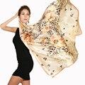 Классический 100% шелковый Шарф женщин золото штамп животных печати женские шарфы и шали большой размер Женщин оптовая цена