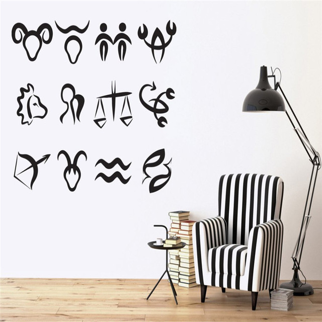 Astronomy Science Wall Stickers Symbols Zodiac Signs In Order Of Sun