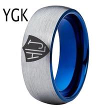 YGK Brand 8mm/6mm Matte Silver outside Blue inside Tungsten Carbide Ring Spanish CTR Ring HLJ Design Ring