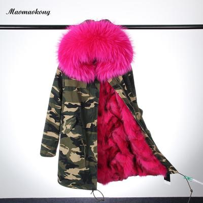 Real Fur Parka For Women Winter Real Fox Fur Lining Coat Raccoon Fur Hoodie Cotton Jacket 2017 winter new clothes to overcome the coat of women in the long reed rabbit hair fur fur coat fox raccoon fur collar