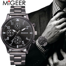 MIGEER Fashion Man Business Watch Crystal Stainless Steel Analog Quartz