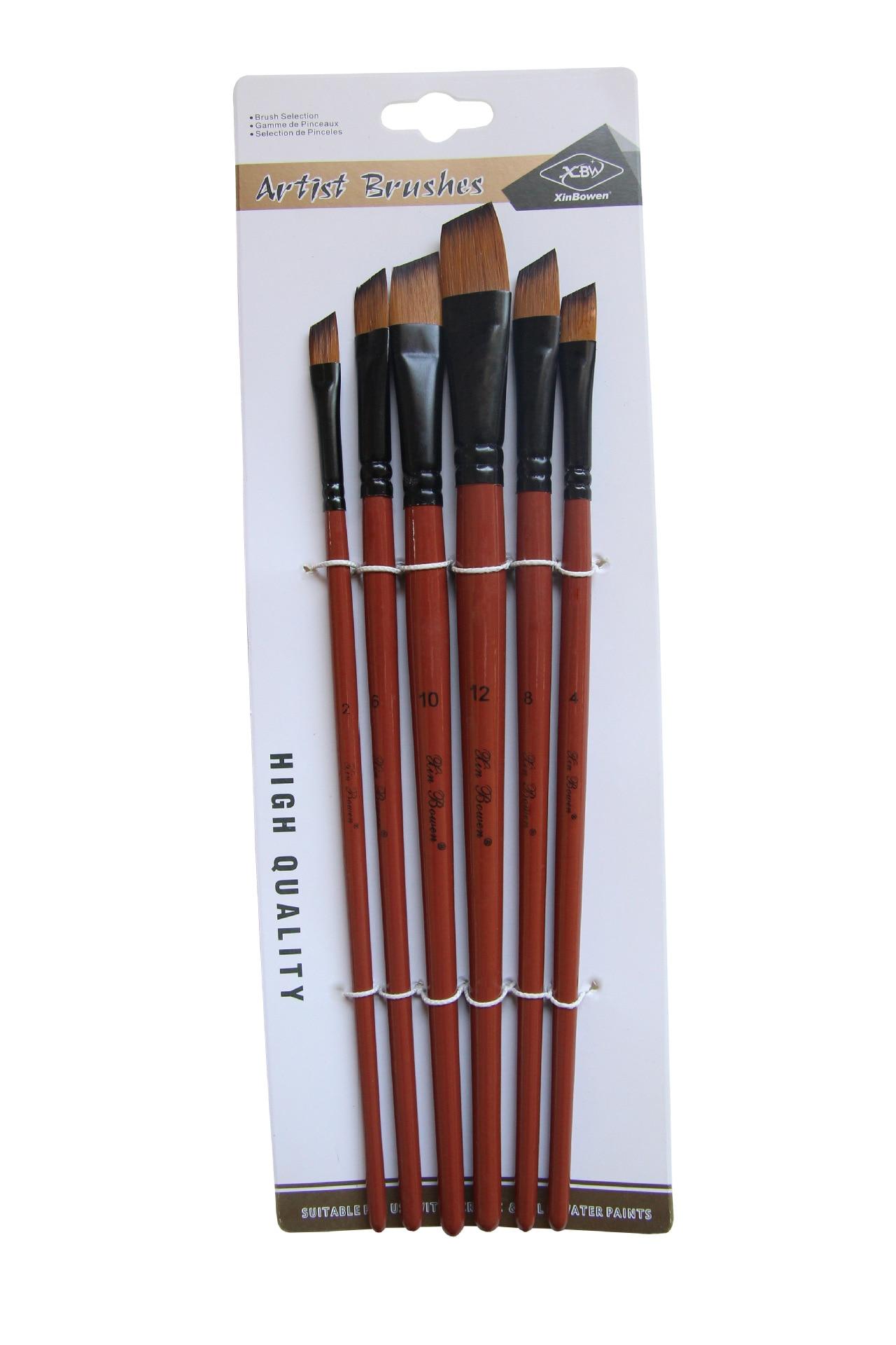 Купить с кэшбэком Nylon Hair Oil Paint Brush Round Filbert Angel Flat Acrylic Learning Diy Watercolor Pen for Artists Painters Beginners, 6Pcs/set