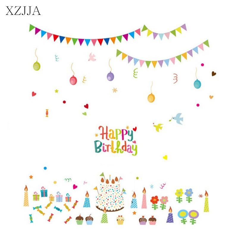XZJJA Cake Balloon Wall Sticker Candy Candle Happy Birthday DIY PVC Stickers Mural Art F ...