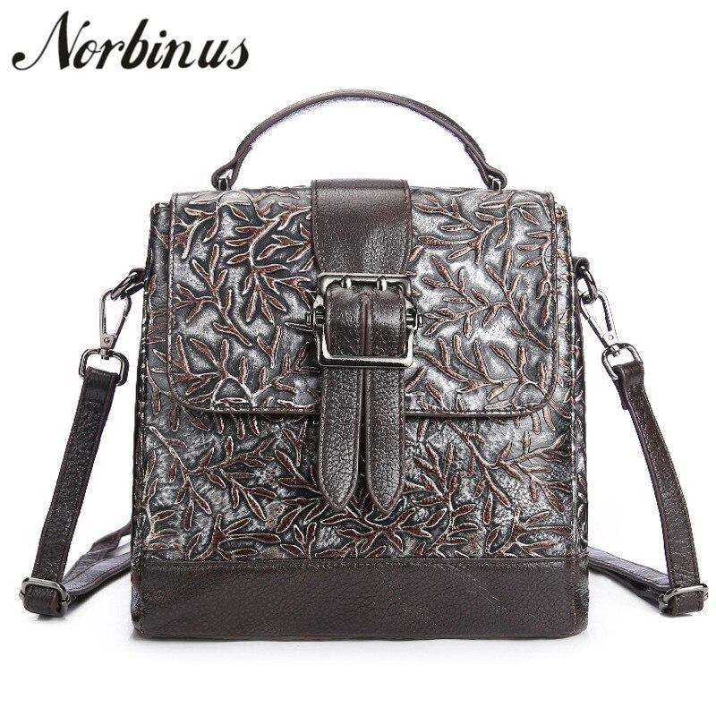 Norbinus Women Messenger Bags Genuine Leather Shoulder Bag 2018 Luxury Brand Designer Handbags Female Casual Tote