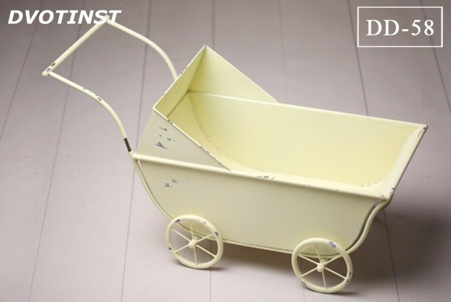Dvotinst Baby Photography Props Iron Bathtub Car Wagon Case Fotografia Accessory Infant Toddler Studio Shooting Photo Props Gift