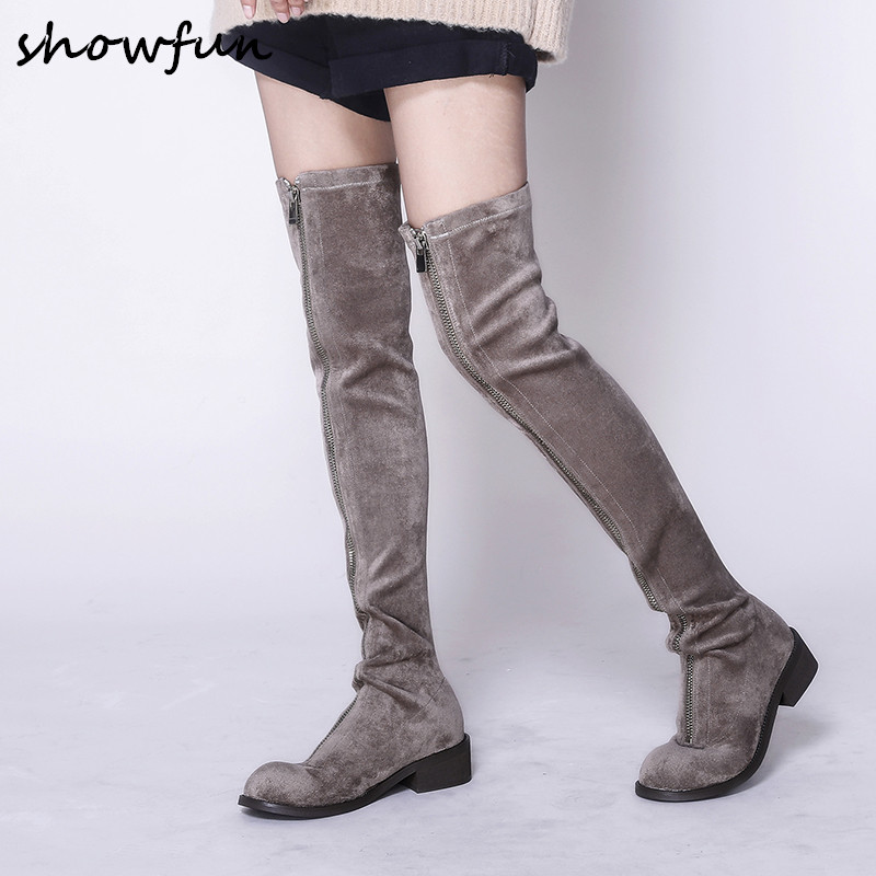Plus Size 33-43 Women's Flock Winter Over The Knee Boots Brand Designer Front Zip Cold Weather Long Boots Flats Autumn Shoes Hot все цены