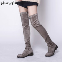 Plus Size 33 43 Women's Flock Winter Over The Knee Boots Brand Designer Front Zip Cold Weather Long Boots Flats Autumn Shoes Hot