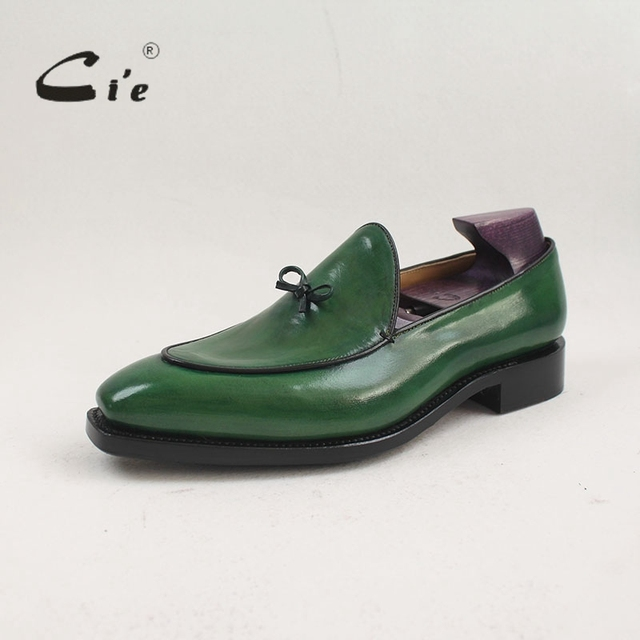 cie Square Toe HandPainted Handmade Patina 100%Calf Leather Breathable Bottom Outsole Slip-on Men's Flat Shoe Loafer Bespoke col