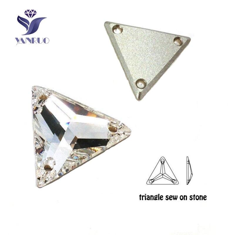 YANRUO triángulo 3270 coser en diamantes de imitación cabujones diamantes de imitación de cristal de piedra en la línea vestido de boda