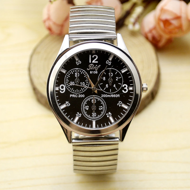 Elderly watches, male and female dial numbers, spring, elastic steel belt and qu