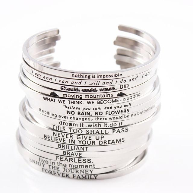 ce710d2bf778 2017 tendencia productos grabado mantra pulseras Acero inoxidable inspirado  personaliized mantra pulsera 10 unids lote