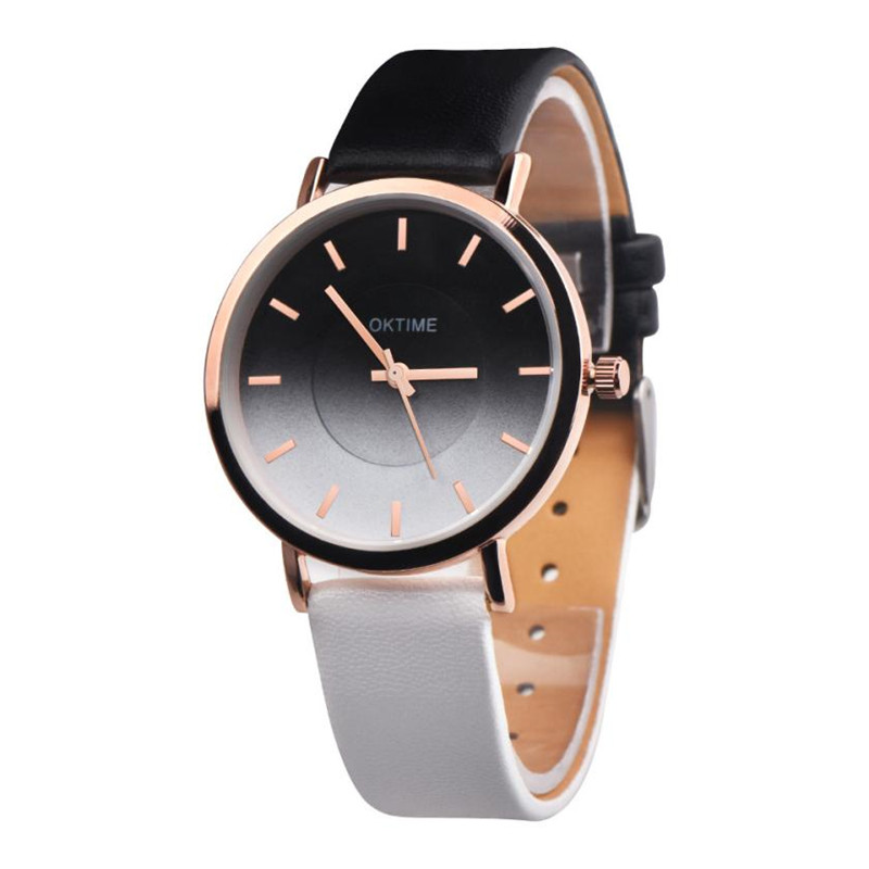 New Rainbow Clock Watches Women brand Fashion dress ladies Watches Leather women Analog Quartz Wrist Watch Relojes Mujer #C new 2017 crrju fashion casual clock bracelet watch women rhinestone watches women s elegant quartz wrist watch relojes mujer