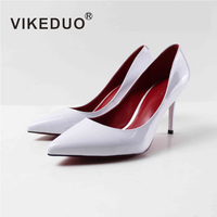 Vikeduo Ladies Fashion High Heel Shoes Solid White Patent Leather Women Pumps Summer Handmade Wedding Office Formal Dress Shoe
