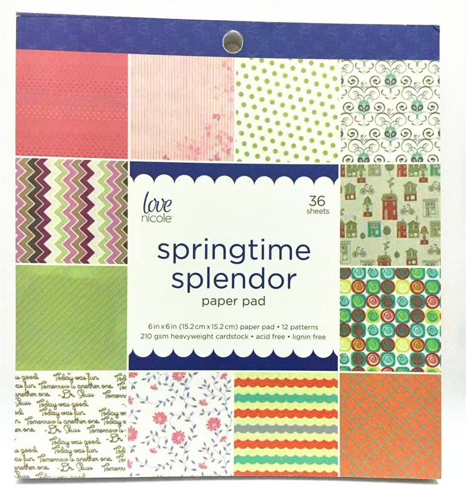 Scrapbook paper aliexpress - 6 Acid Free Splendor Springtime Pattern Decorative Scrapbooking Paper Set 36sheets Printed Background