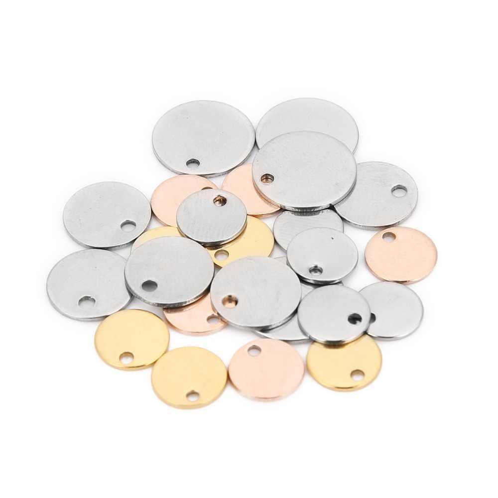Sauvoo 20 pçs/lote redondo aço inoxidável carimbo em branco cão tag pingentes 6 8 10 12 15 20 25mm rosa ouro diy charme jóias encontrando