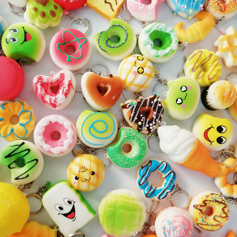 4/6/8pcs Squeeze Toys Mini Soft Extrusion Bread Toys Keyring Rising Decompression Squishy Slow Rising For Kids