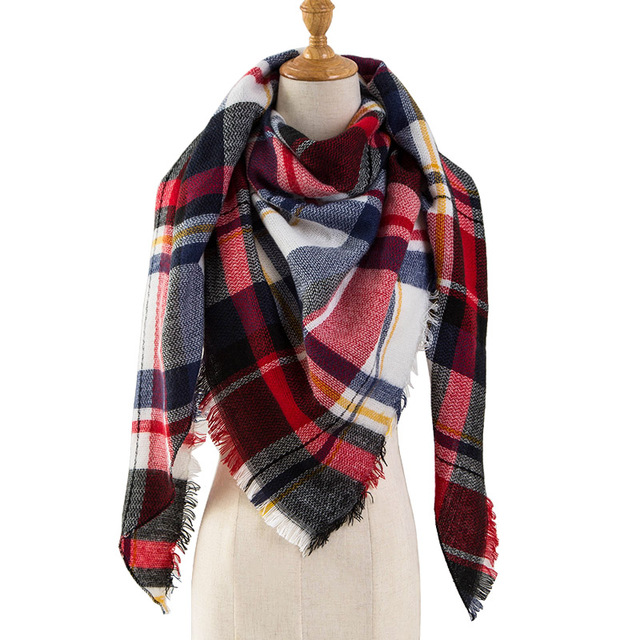 PINMI Black Plaid Winter Scarf Women 2017 Luxury Brand Warm Cashmere Scarves and Shawls Large Triangle Pashmina Blanket Wraps
