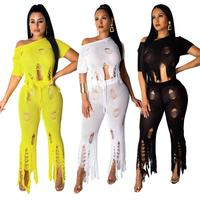 Hot Fashion Women Summer Tracksuit O Neck Knitted Sexy 2 Pieces Outfits For Women Set Lady Track Suit YQ279