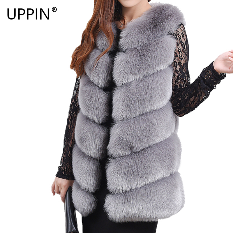 gray Fashion High Fake Plus Coat 3xl Long pink S Fox New Size khaki Women dark Fur Uppin Faux Red grade Arrival white Grey Vest black Winter Warm PZwBX