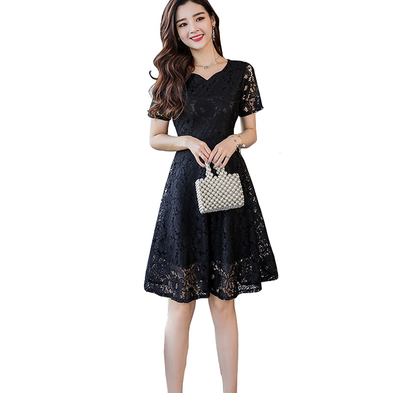 US $21.52 25% OFF|Summer Autumn Lace Dress Plus Size Short Sleeve Heart  Collar A Line Dress Elegant Navy Blue Red Black Party Dress 3xl 4xl 5xl-in  ...