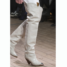 2019 New high-heeled boots, cone-heeled boots, long-barrel-tipped boots metal toecap 8cm heels  over knee boots leather block heeled floral boots