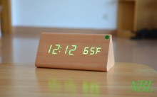 Cheapest prices Bamboo Wooden Desk Clock Color LED Thermometer Originality Desktop Alarm Clocks Despertador Snooze  Sound Control Sensing