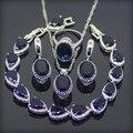 925 Sistemas de La Joyería Azul Zafiro Creado Pendientes/Anillos/Pendiente/Collar/Pulseras Para Las Mujeres Libres Caja de regalo