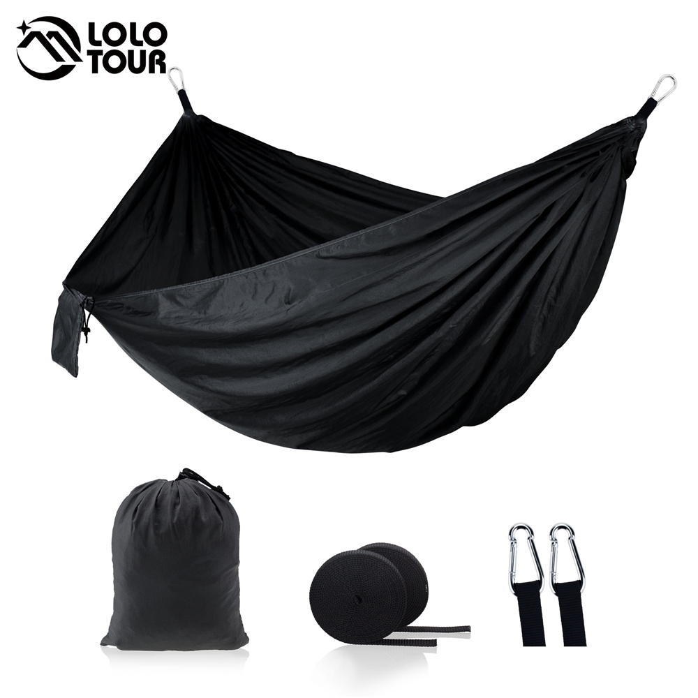Portable Hammock Double Person Camping Survival Garden Hunting Leisure Travel Furniture Parachute Hammocks With Straps