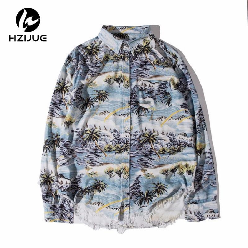HZIJUE Printing Single Breasted Fashion Mens Shirt 2016 New Turn-down Collar Unlock Hem Shirts Men Man Clothes G-dragon