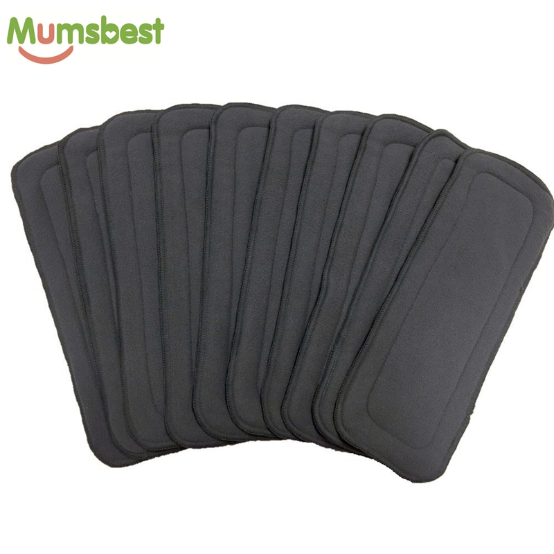 [Mumsbest] 10Pcs Babies Cloth Diaper Inserts 5 Layers Charcoal And Microfiber Nappy Liner Keep Dry Fast Diapers Liners One Size