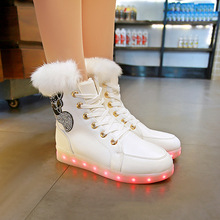 цены Winter New Fashion Baby Boys Girls Warm Luminous Sports Shoes LED Lumineus Sneakers Children Non-slip Shoes Kids Casual Shoes
