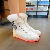 Winter New Fashion Baby Boys Girls Warm Luminous Sports Shoes LED Lumineus Sneakers Children Non slip Shoes Kids Casual Shoes